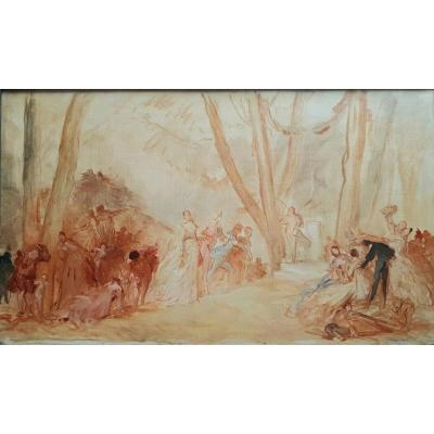 André Charles Voillemot The Court Of Love Oil On Canvas XIXth Century Gallant Scene