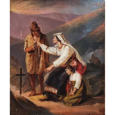 Attribution To Louis Léopold Robert Italians Collecting Oil On Paper Sketch Circa 1820