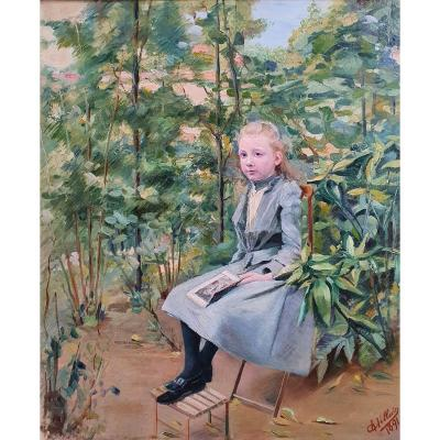 Charles Villain Young Girl Reading In A Garden Oil On Canvas Painter From Nancy 1891