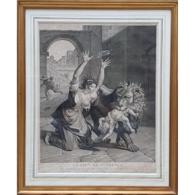 Le Lion De Florence Par Nicolas André Monsiau Gravé Par Frédéric Cazenave Époque Empire Gravure