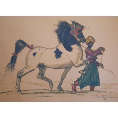 Henri Deluermoz Dresseur De Chevaux Gouache Sur Papier 1928 cheval
