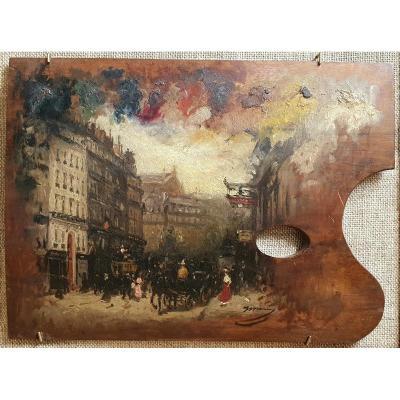 Joaquim Miró Argenter Boulevard Haussmann Opéra Garnier Huile Sur Palette XIXème Siècle