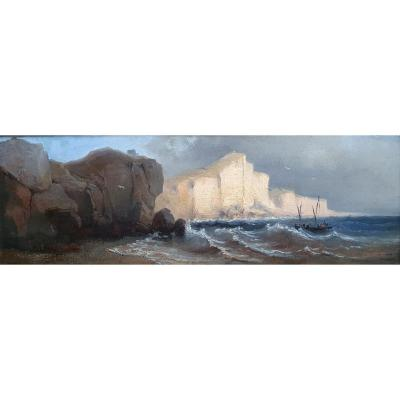 Attributed To Eugène Cicéri The Cliffs Of Normandy Oil On Cardboard Around 1870