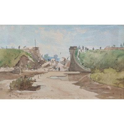 Henri Harpignies The Collapse Of The Railway Bridge In Challuy Nièvre Train Watercolor