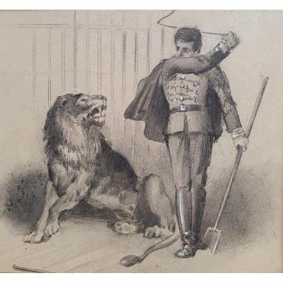 Tamer Of Lions Lavis Drawing Late Nineteenth