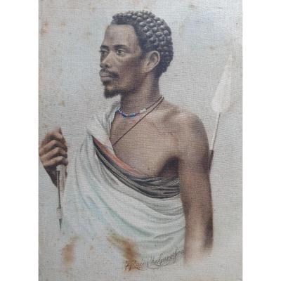 James Rainimaharosoa Portrait Of A Malagasy Warrior XIXth Century Madagascar