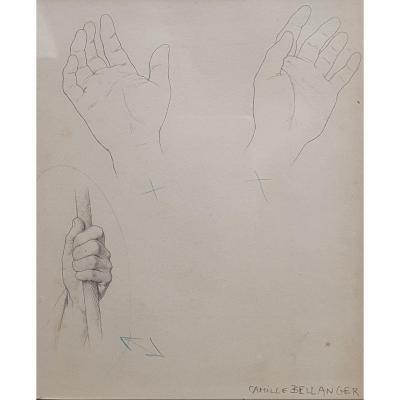 Camille Bellanger Study Of Hands Drawing XIXth Century