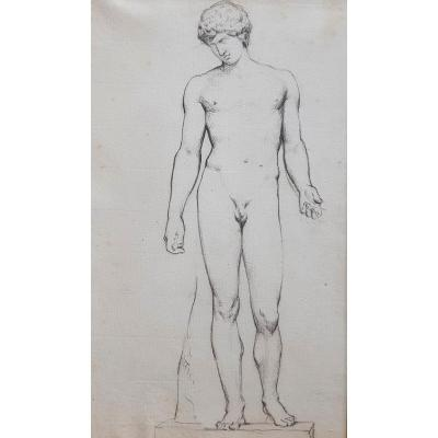 Camille Bellanger Naked Man After The Antique Nineteenth Drawing