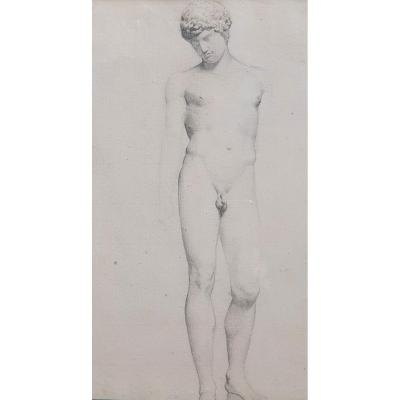 Camille Bellanger Naked Man Ephebe Nineteenth Drawing After The Antique