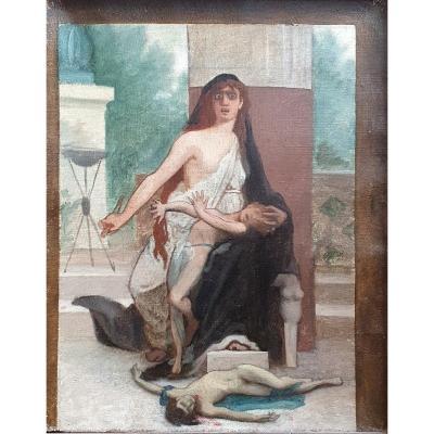 Camille Bellanger Médée Preparatory Study Oil On Canvas