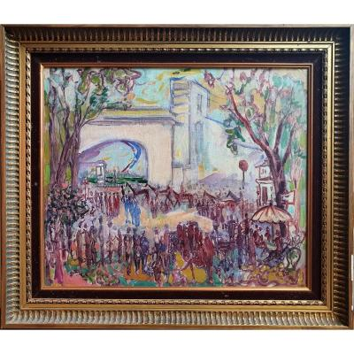The Field Of Courses Around 1930 Hippisme Oil On Canvas Horses