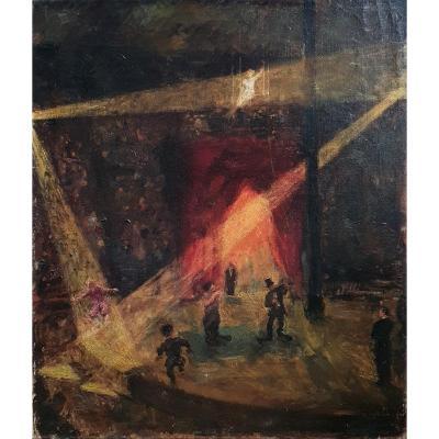 Circus Scene Oil On Canvas 1946 Signature To Decipher