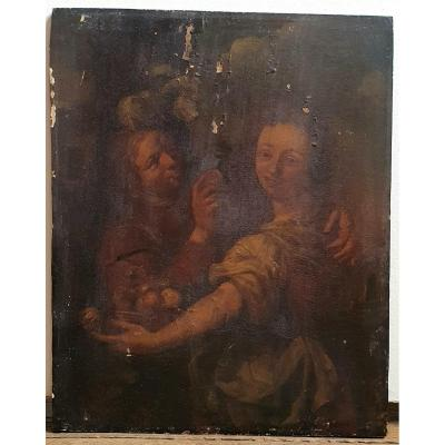 Flemish School Of The XVIIth Century Woman With Fruit Basket Man At The Piece Oil Panel