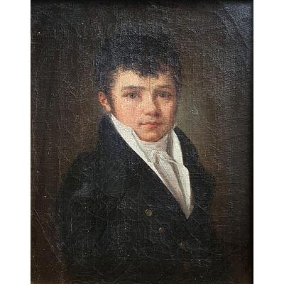 Henri Nicolas Van Gorp Portrait Of Young Man Oil On Canvas Early Nineteenth
