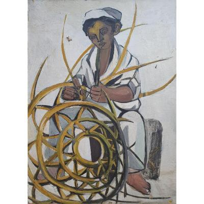 Character In Basket Oil On Canvas Modern Art