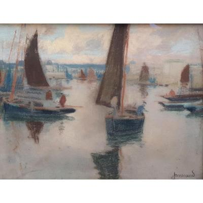 Mathurin Janssaud The Fishermen In The Port Of Concarneau Pastel