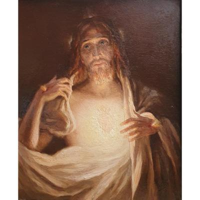 Henri Pinta The Sacred Heart Of Christ 1921 Oil On Canvas