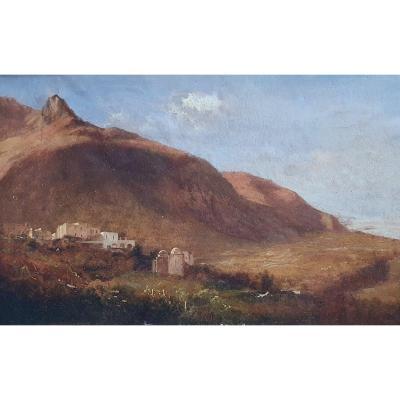 Alexandre Calame Landscape Of Italy Capri Oil On Paper Circa 1840