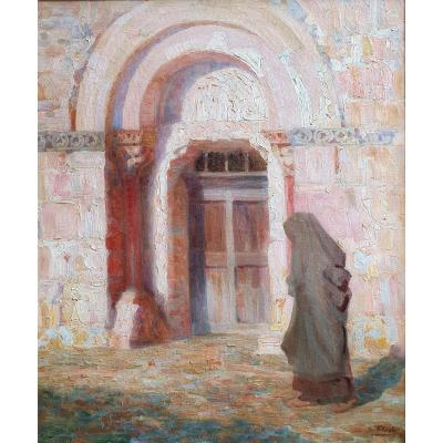 Lionel Floch Bretonne In Front Of A Church Oil On Canvas 1921 Brittany