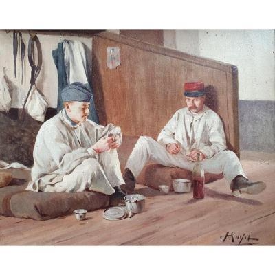 Henri Paul Royer Scène De Vie Militaire Huile Sur Toile Première Guerre Mondiale