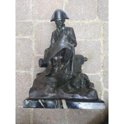 Napoleon I Sitting Observing A Map By Salesio Régule Bronze Patina