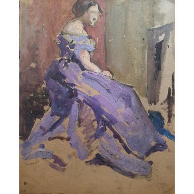 André Delauzieres Portrait Of Woman Sketch Oil On Cardboard Paris 1936