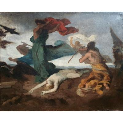 Urbain Bourgeois Sketch The Body Of Saint-vincent Protected By The Angels Oil On Canvas 1879