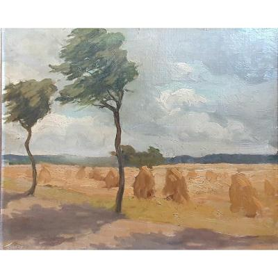 Haystacks Landscape Oil On Canvas Pasted Circa 1900