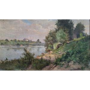 Charles Léon Mery Painter On The Edge Of The Seine Oil On Canvas Contrecolled XIXth Century