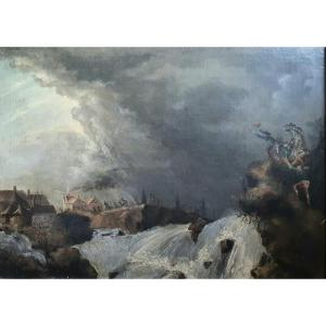 Rupture Of Saint Anthony's Dike Near Amsterdam After Willem Schellinks Oil On Canvas