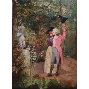 Georges Cain Galante Scene Oil On Panel Paris 1888