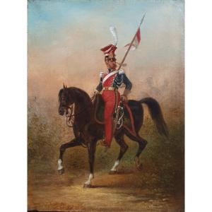 Polish Lancer Of The Imperial Guard Oil On Canvas XIXth Military Century
