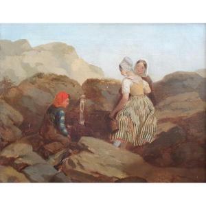 Jeunes Femmes Et Jeune Homme à La Source Huile Sur Toile XIXème Siècle Circa 1840 Provence