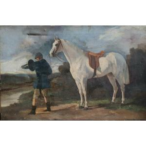 Horse Hunting Scene Oil On Canvas XIXth Century In The Taste Of Josep Cusachs