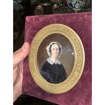 Portrait Miniature De Femme Ers 1830