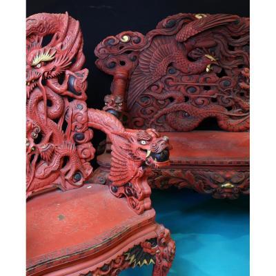 Chine Fauteuils Et Canapé En Bois Sculpté Laqué Couleur Cinabre