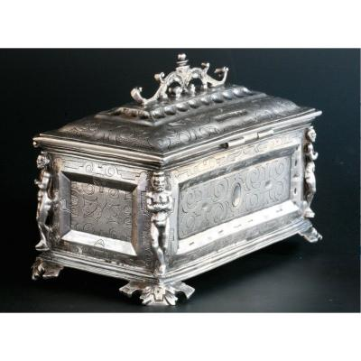 Late Renaissance - Spanish Chrismatorium In Silver From The Sixteenth