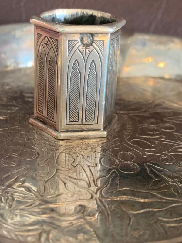 Bougeoir à main  de stil Néo-gothique en argent -photo-4