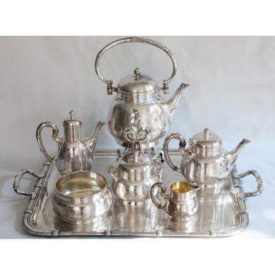 Rare Tea And Coffee Service In Silver Metal, Bamboo Model By Christofle, France, Circa 1885