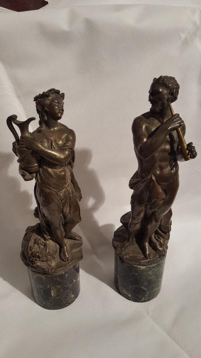 2 Statues And Nymph Satyr Bronze On Base