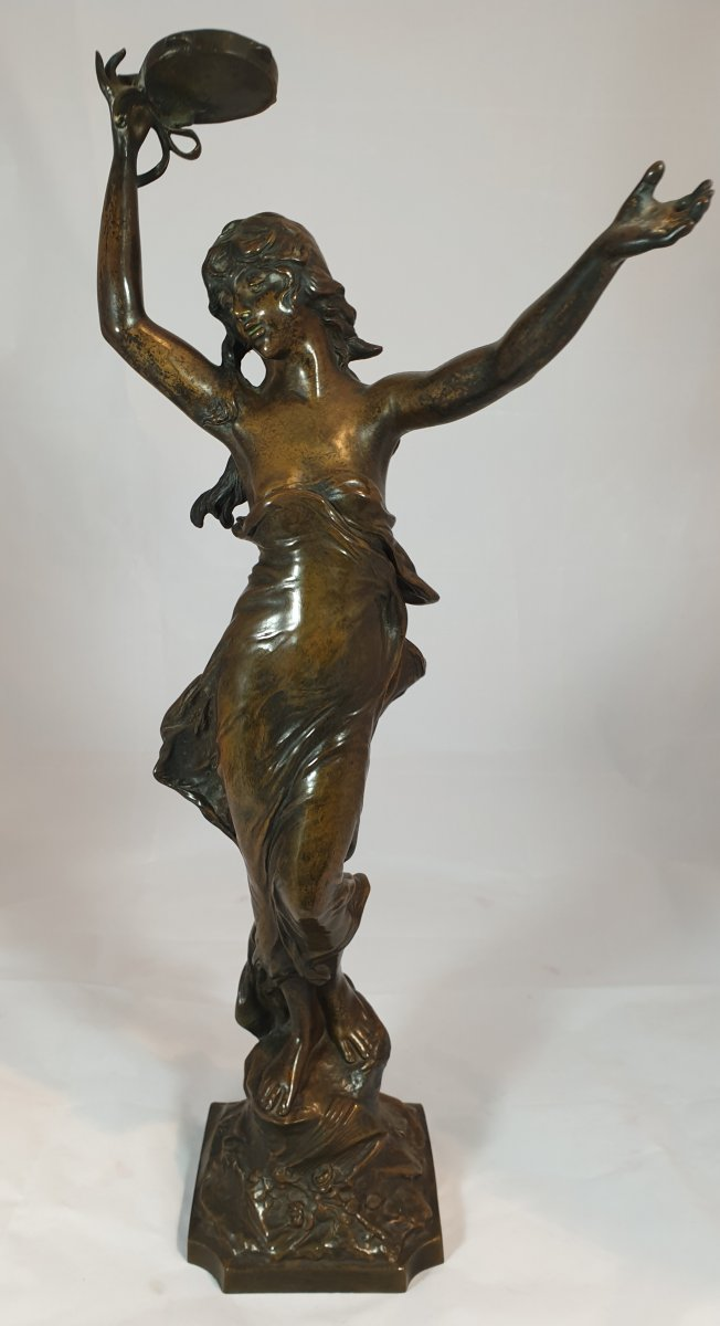 Statue Of Woman With Tambourine In Bronze