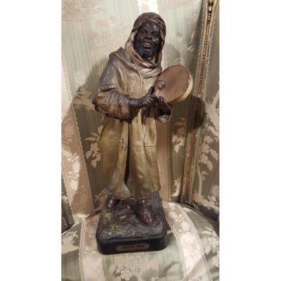 Sculpture En Terre Cuite Chanteur Arabe