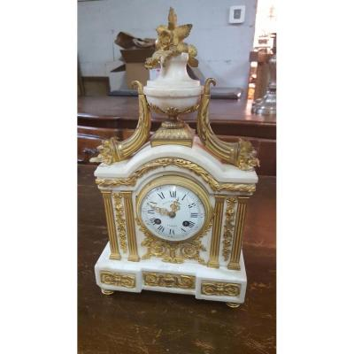 White Marble And Gilded Bronze Clock