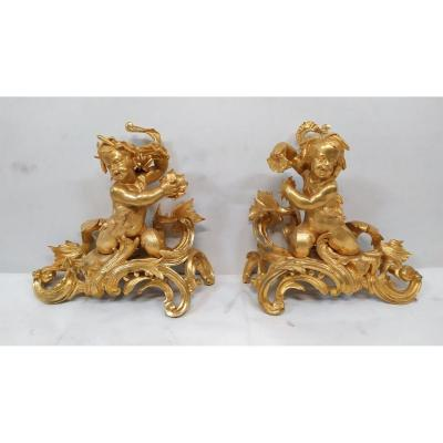 Pair Of Andirons In Gilt Bronze