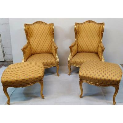 Pair Of Bergères With Its 2 Poufs