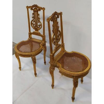Pair Of Golden Wood Chairs