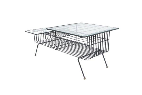 Table Basse 1950 En Métal Laqué Noir Et Verre.