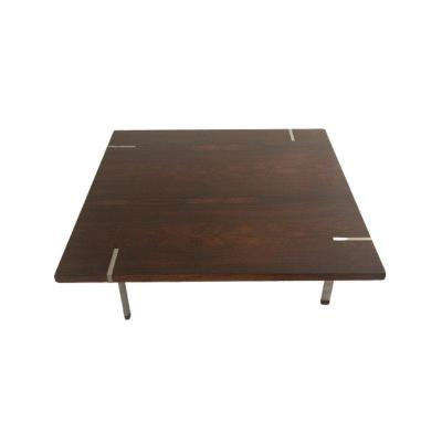 1970 Coffee Table In Rosewood And Chromed Metal, Produced By The Italian Manufacturer Pizzetti.