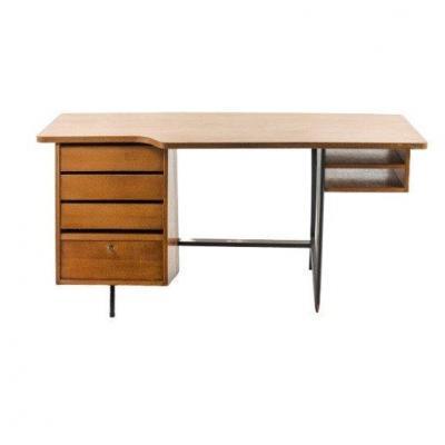 Large Desk By Claude Vassal, In Oak Circa 1955, Les Magasins Pilotes Edition.