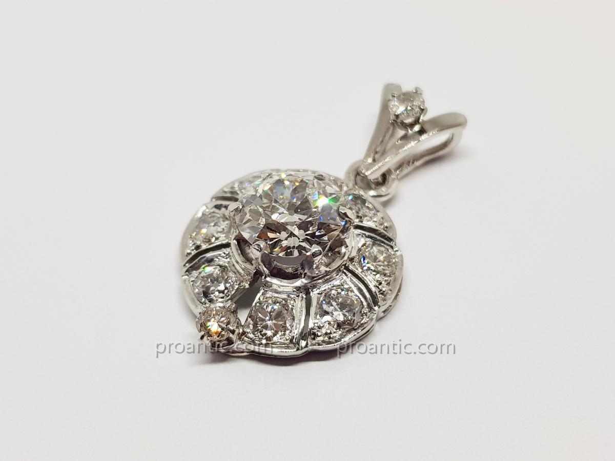 Pendentif Art Déco Or Blanc Diamants 3 Carats 18k 750/1000 & Platine 850/1000 5.53 Grammes